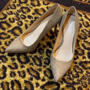 Carlos Santana Gold shimmer heels like NEW